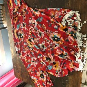 Gorgeous red floral kimono with cream fringe
